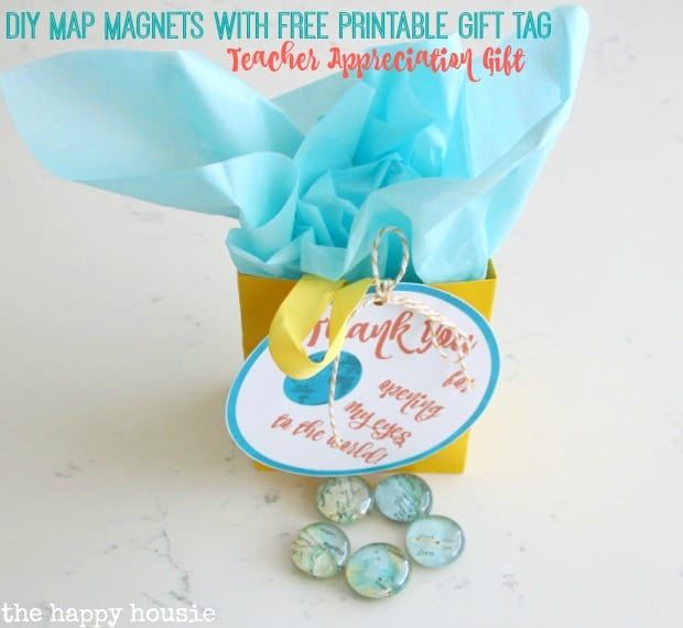 free printable gift tag for diy map magnets  teacher