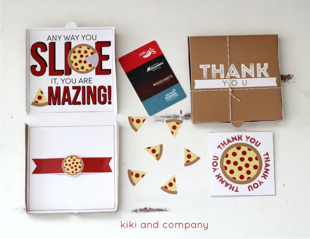 teacher appreciation pizza box card with kiki and company