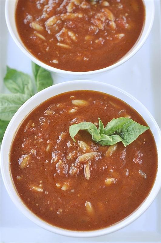Tomato Pesto Orzo Soup @yourhomebasedmom