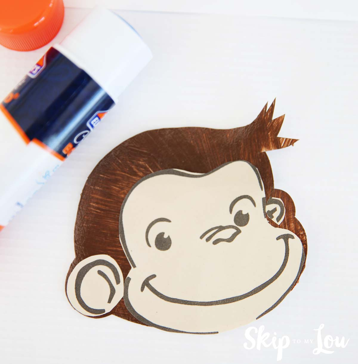 curious george handprint monkey head & Curious George Handprint Monkey Craft | Skip To My Lou