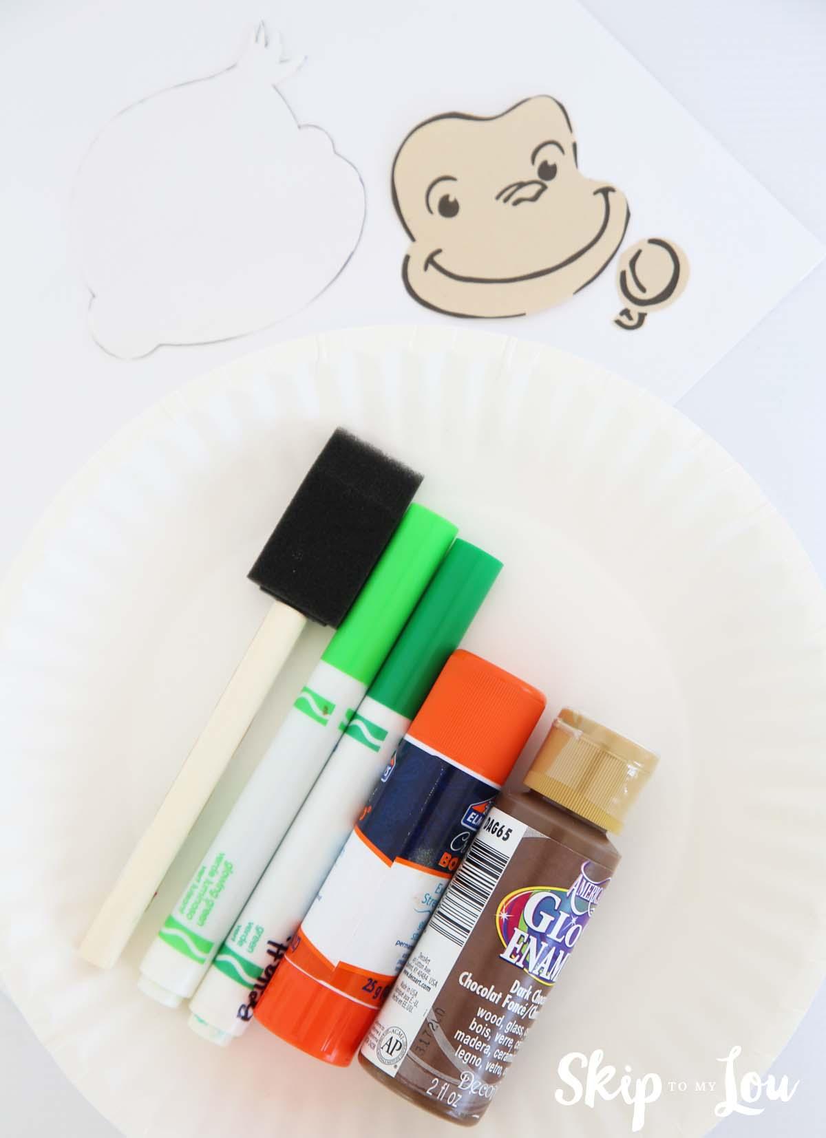 monkey handprint craft supplies
