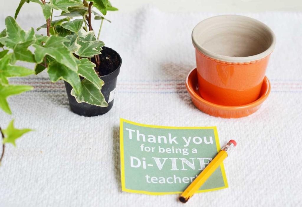 materials for the di-VINE teacher appreciation gift.
