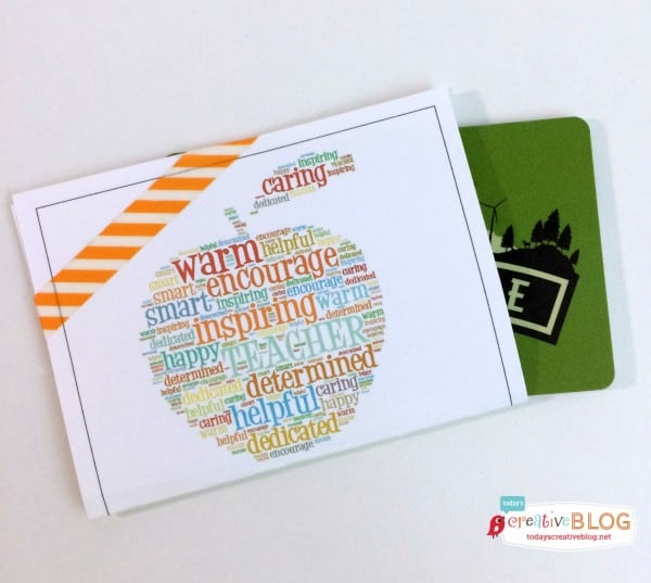 printable gift card holder that has an apple printed on it with inspirational words