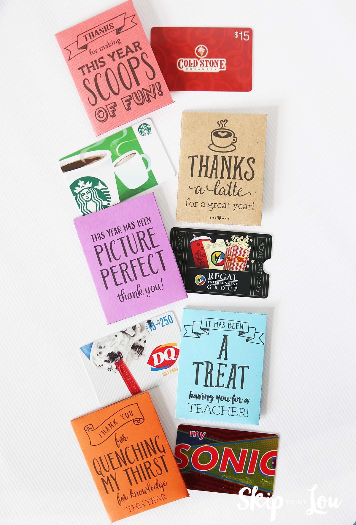 printable teacher gift card holders