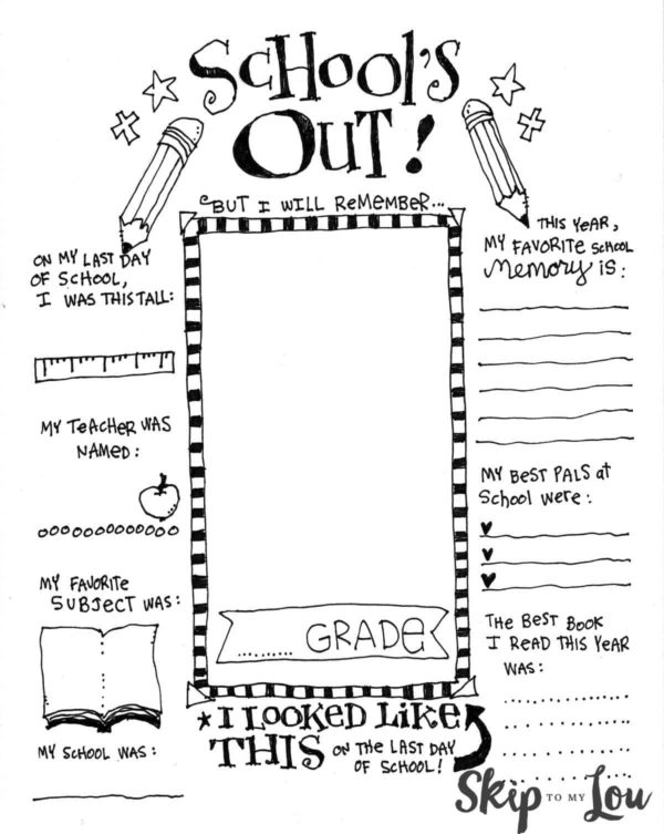 last day of school coloring page