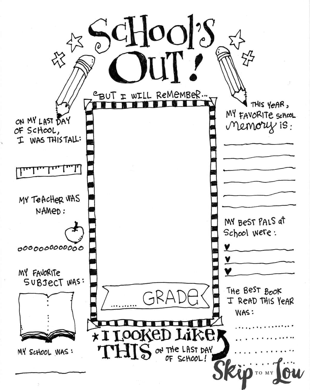 free printable End of School coloring page
