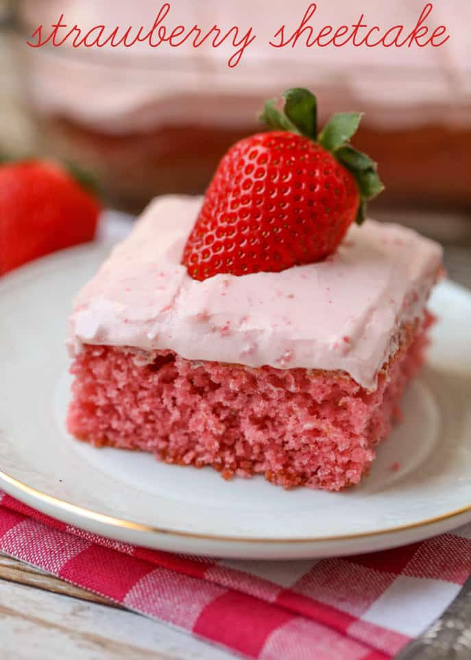 Vanilla Sheet Cake With Strawberry Frosting