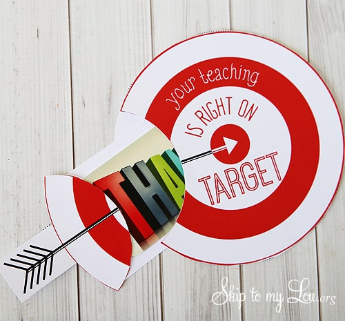 "target gift card holder that says, ""thank you, your teaching is right on target""; the thank you is decorated as an arrow gift card holder and slides into the the target"