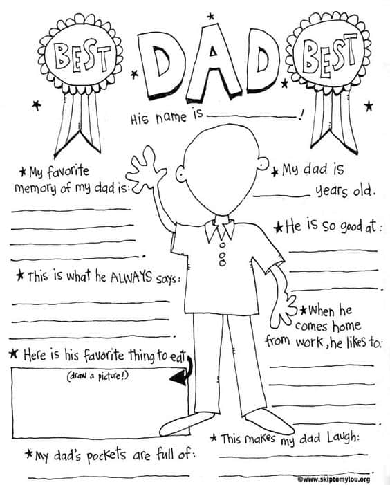 Dad coloring page for the best dad skip to my lou for Happy fathers day grandpa coloring pages