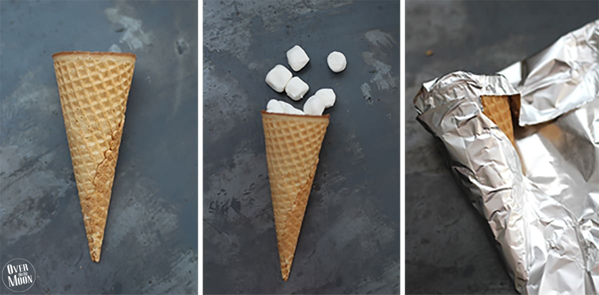 Sugar Cone S'mores! This no mess approach to S'mores is the best! You can bake them, BBQ them or cook them in a fire! From www.overthebigmoon.com!