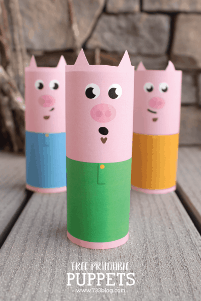 three little pig toilet paper tube puppets