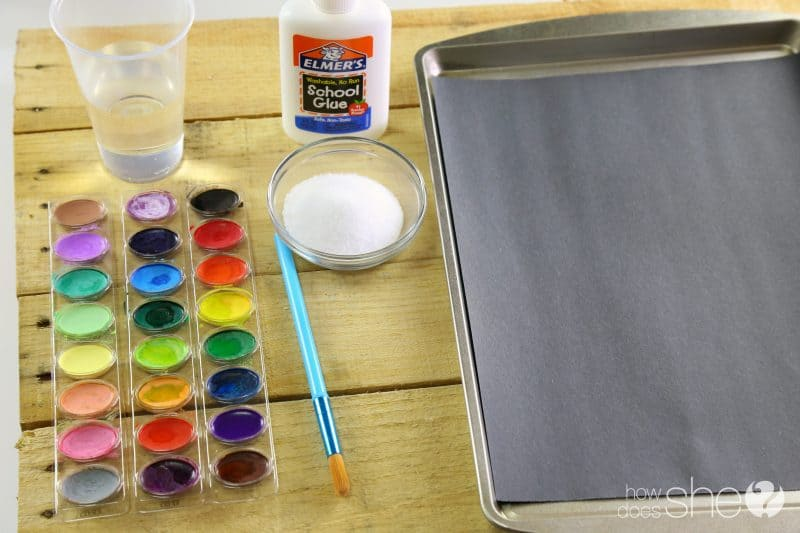 salt painting supplies watercolors salt glue black paper