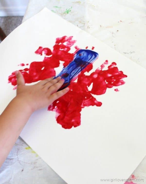 finger painted butterfly preschool art project
