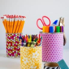 organize with fabric covered cans
