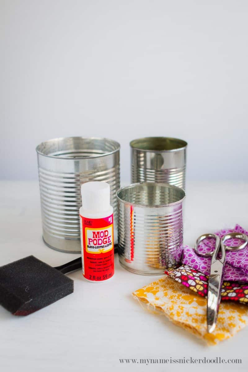 DIY fabric covered cans