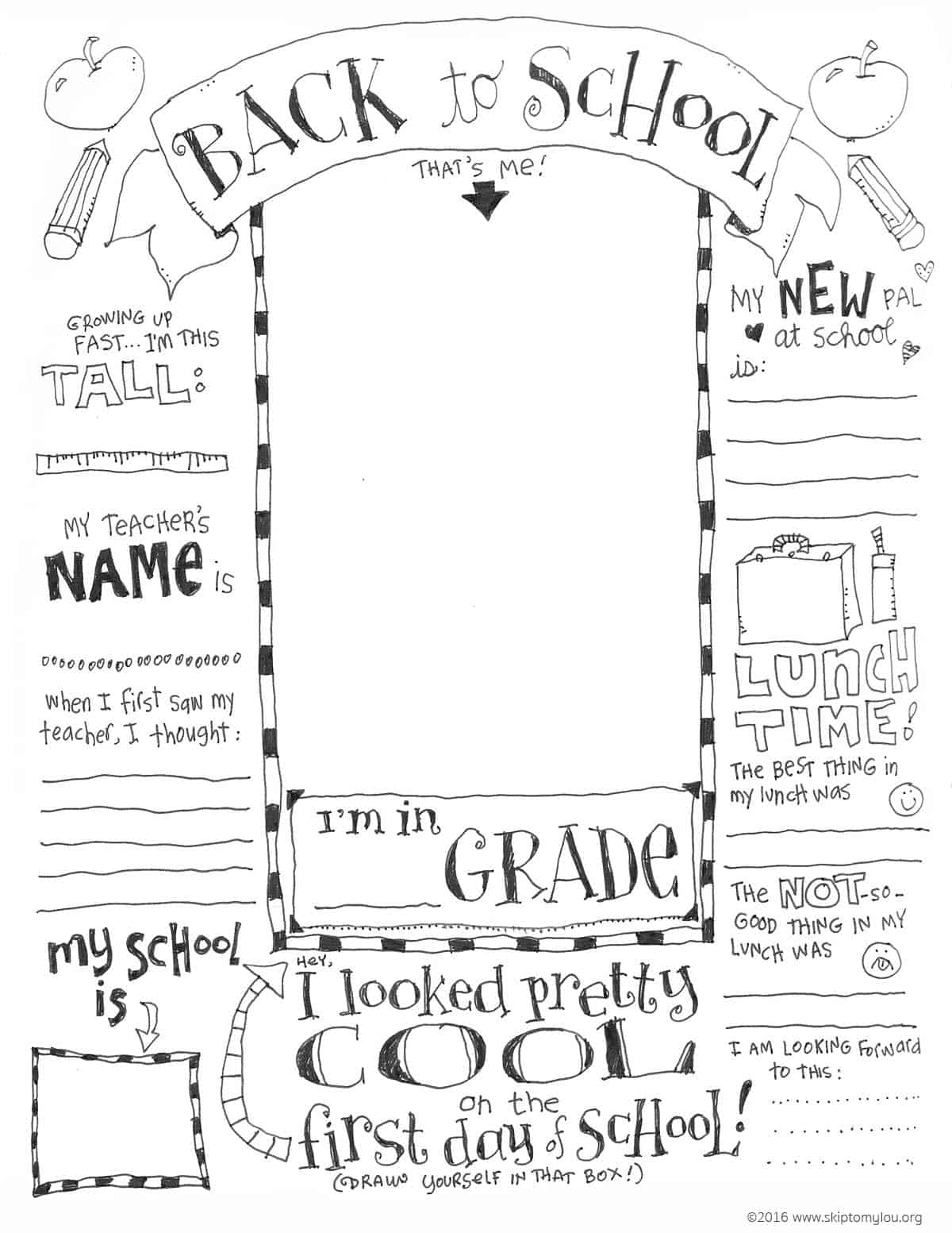 First Day of School Coloring Pages | Skip To My Lou