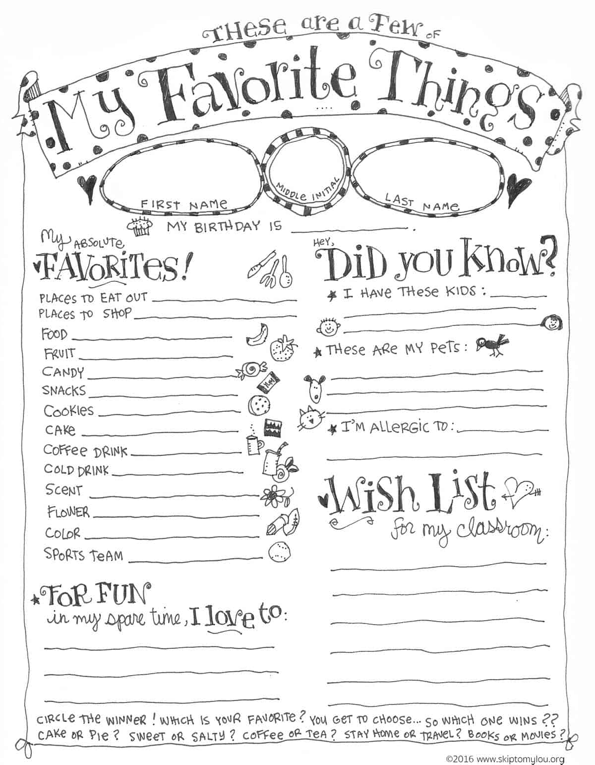 Teacher Favorite Things Questionnaire Printable | Skip To My Lou