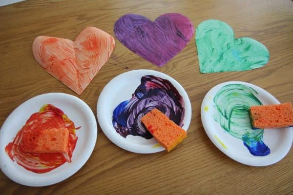 bowls of paint teaching color mixing