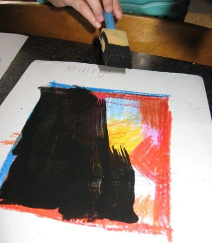 scratch off paper with child painting