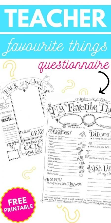 teacher favourite things questionnaire printable PIN