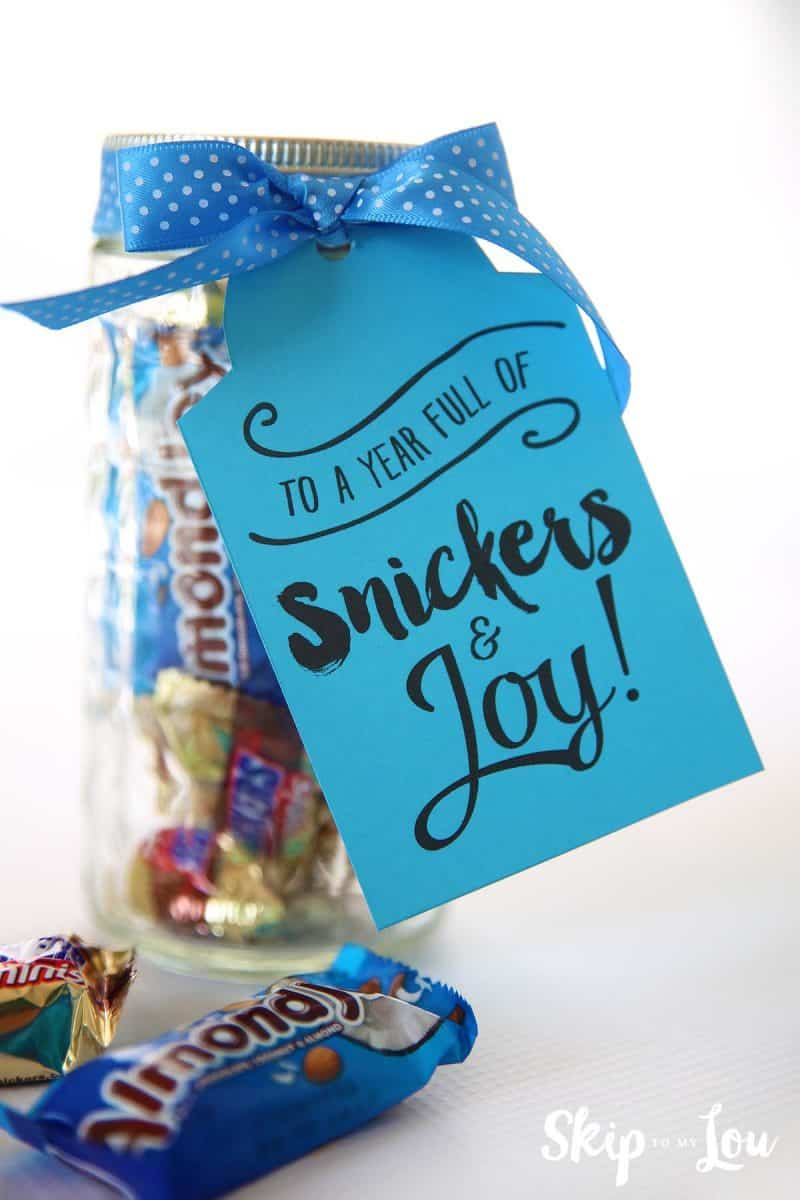 Candy gram saying snickers and joy gift tag