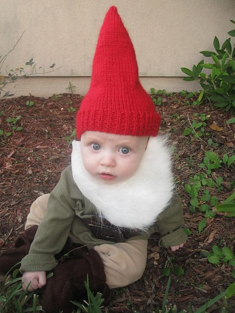 baby dressed as garden gnome