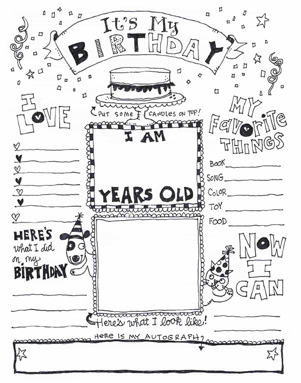 its my birthday coloring page