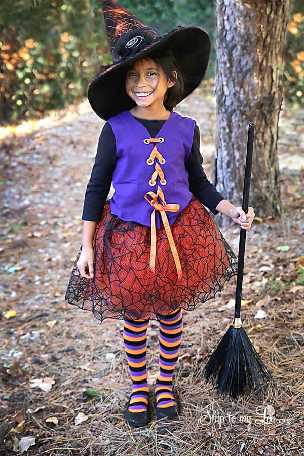 child dressed as witch