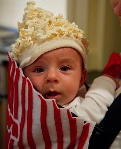 baby in popcorn costume