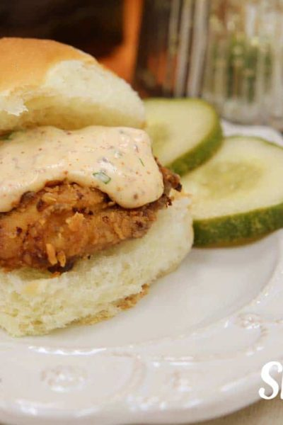 spicy fried chicken sliders with spicy mayo