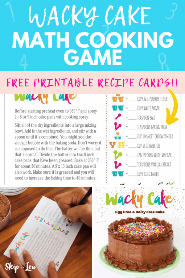 wacky cake cooking game math cards PIN