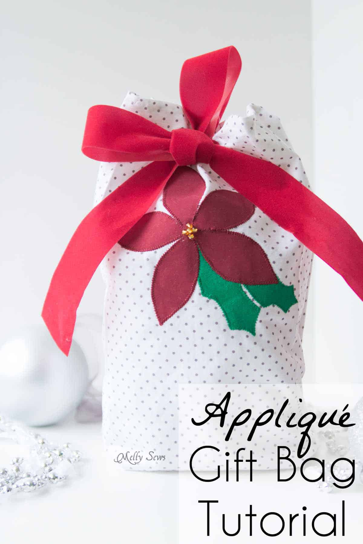 appliquéd gift bag tutorial - sew reusable gift bags and use up your scraps! Sewing tutorial by Melly Sews