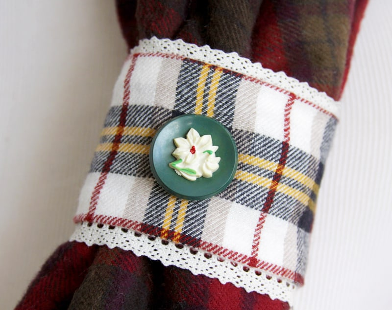 vintage-button-on-plaid-scarf