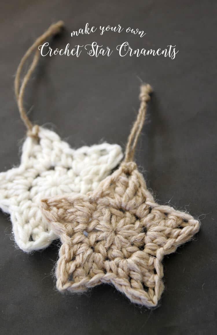 two crochet star ornaments