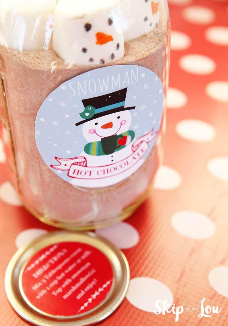 snowman hot chocolate gift free printable skip to my lou