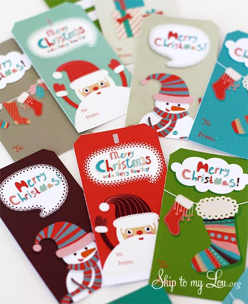 printed cut out christmas tags