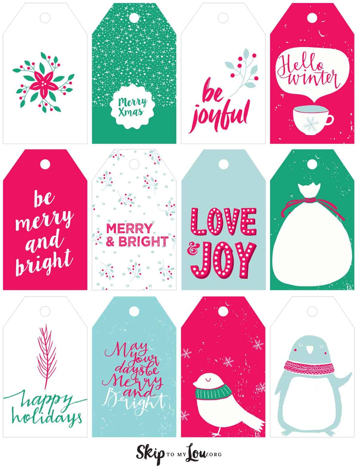 graphic regarding Free Printable Gift Tags Christmas identified as Printable Xmas Present Tags Miss out on Toward My Lou