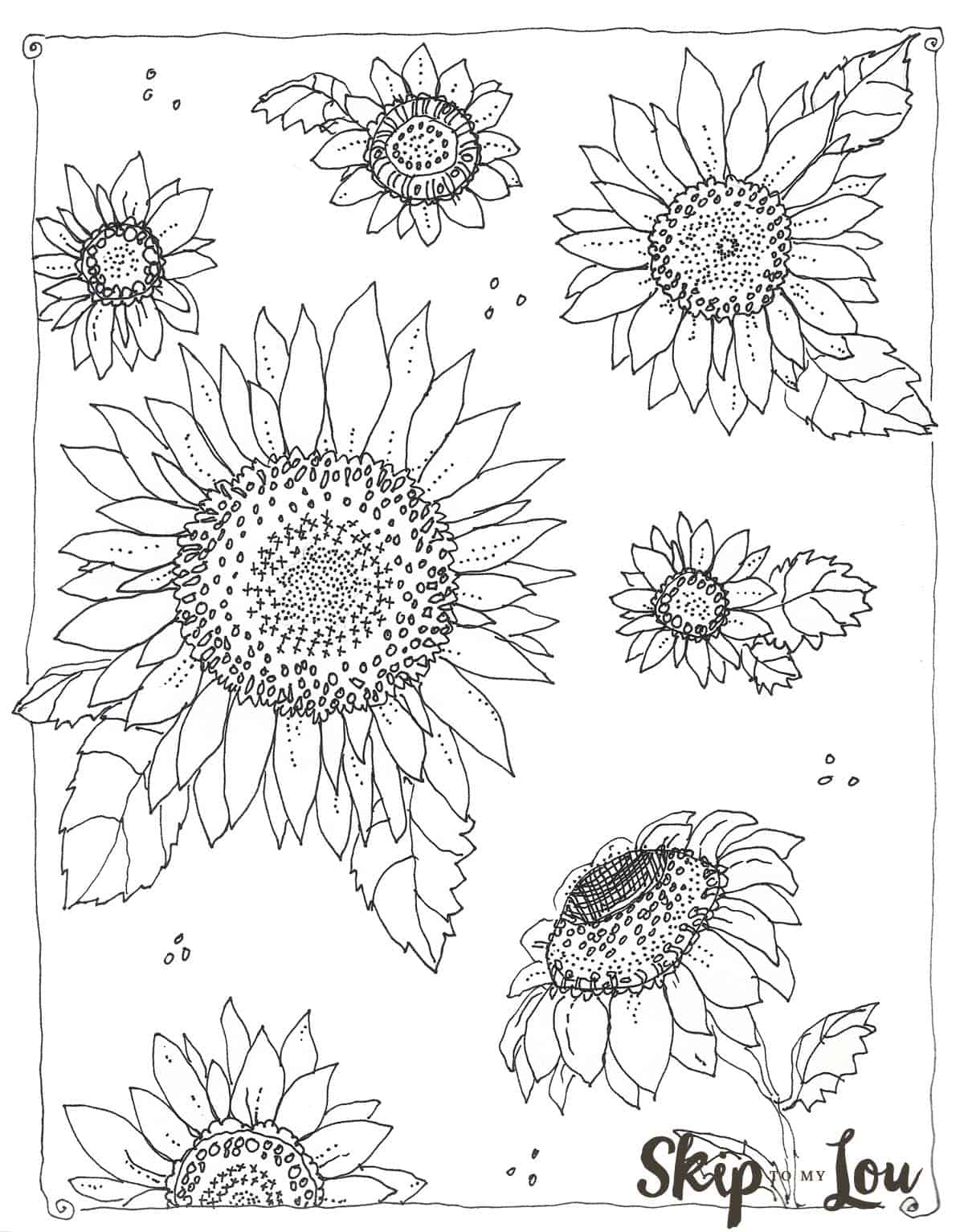Kansas Day Free Sunflower Coloring Page