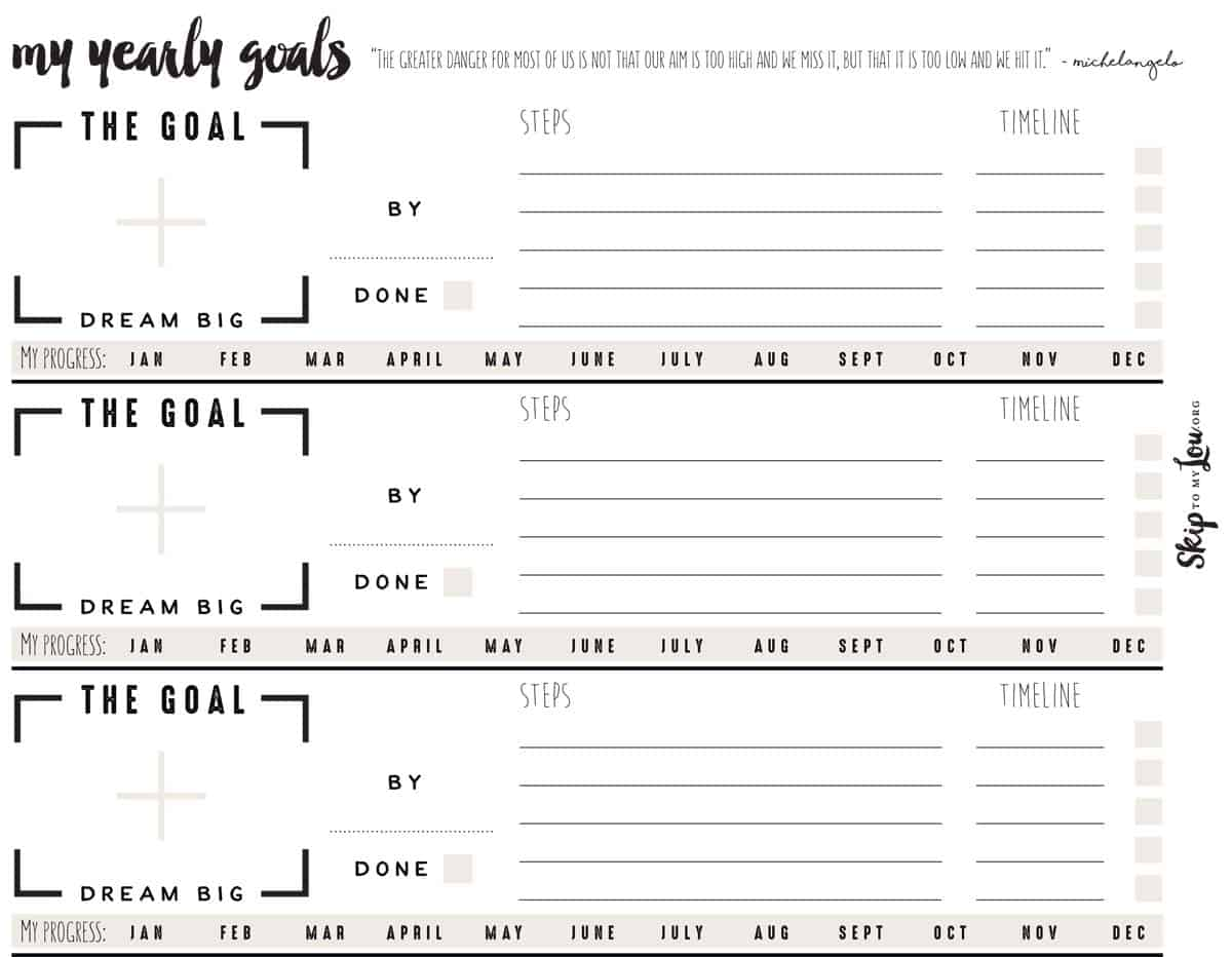 image about Free Printable Goal Sheets titled Free of charge Intent Environment Worksheets Pass up Towards My Lou
