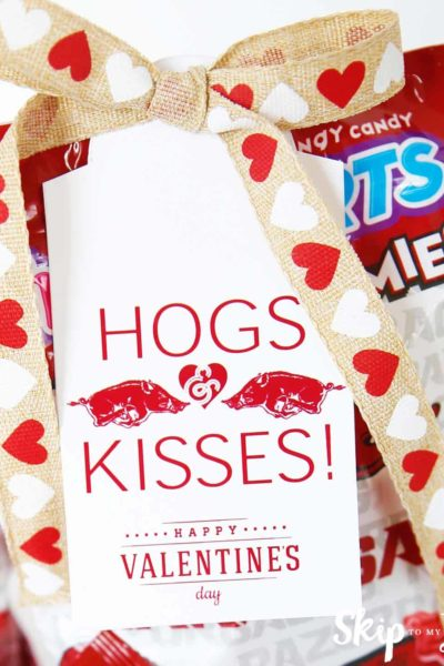 Razorbacks Hogs Kisses Valentine Gift Tag
