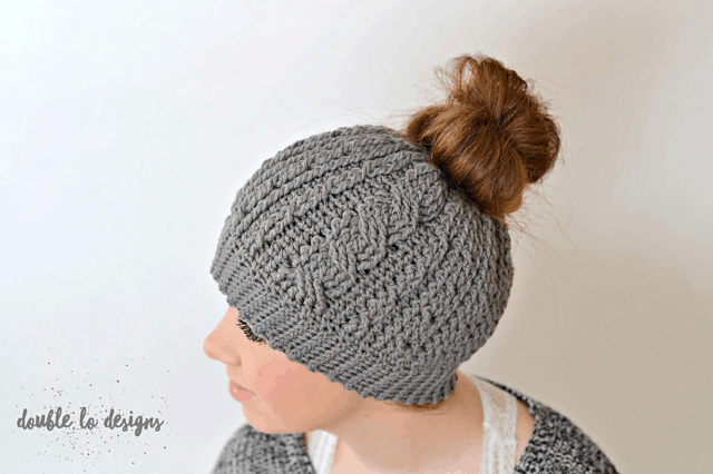 cabled messy bun crochet hat pattern