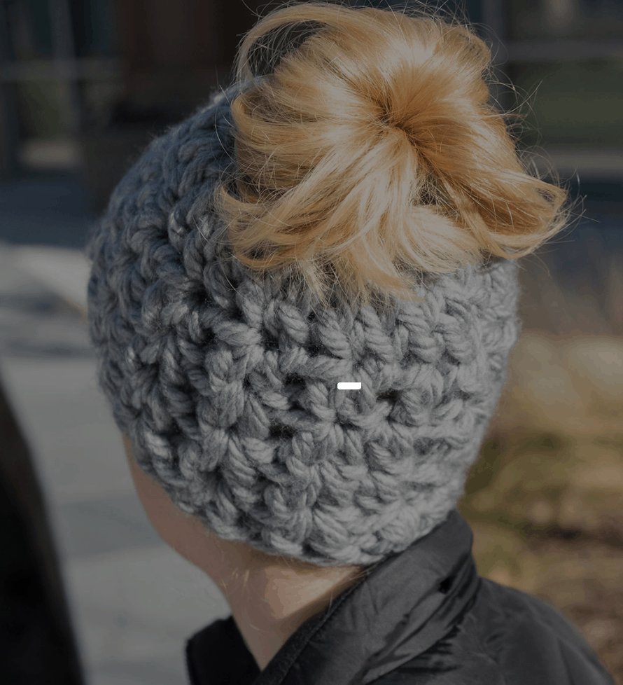 chunky messy bun hat crochet pattern