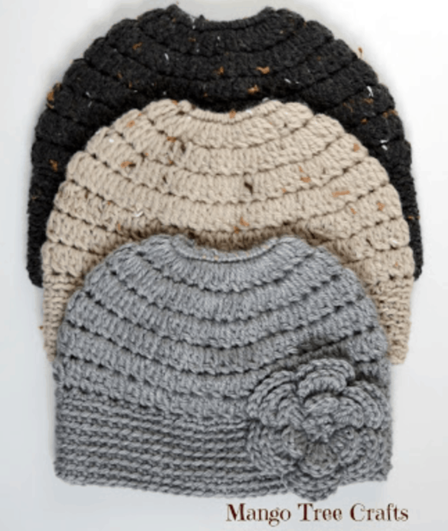 messy bun hat pattern with flower