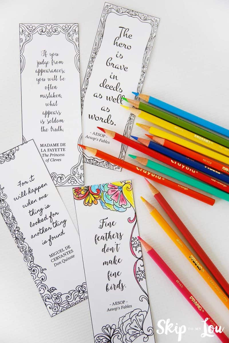 inspirational coloring bookmarks