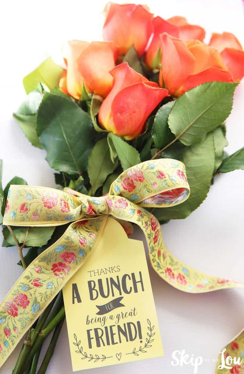 flowers with thanks a bunch gift tag
