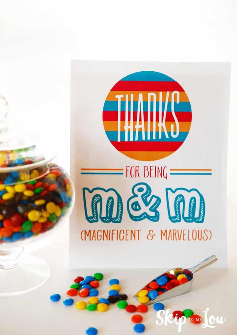 M & M appreciation sign for teacher lounge