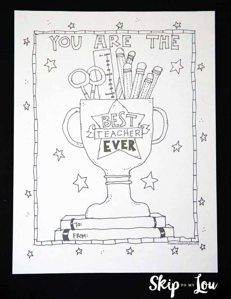 Best Teacher Coloring Page for the BEST teacher EVER!