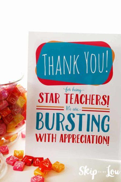 starburst appreciation sign for teacher lounge