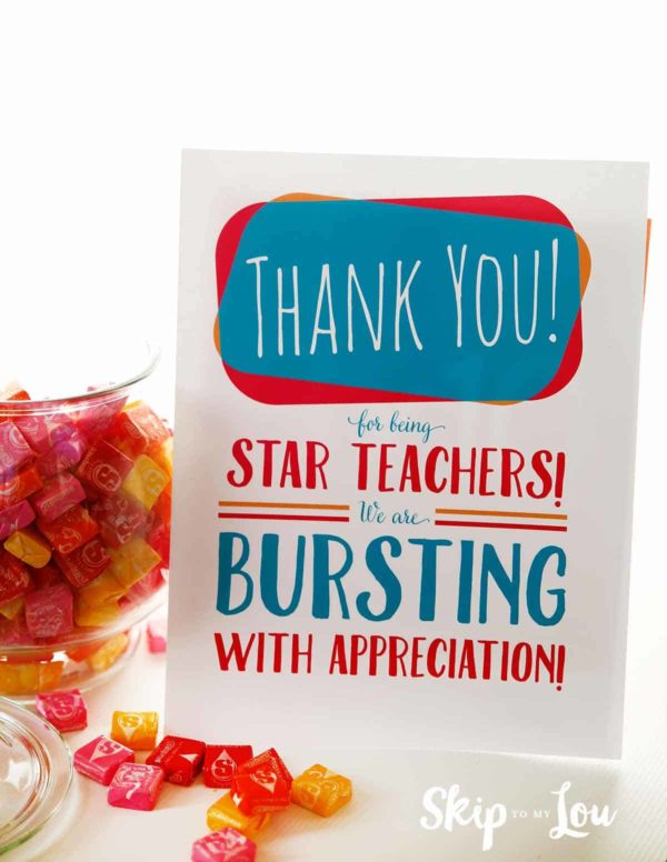 starburst appreciation sign for teacher lounge