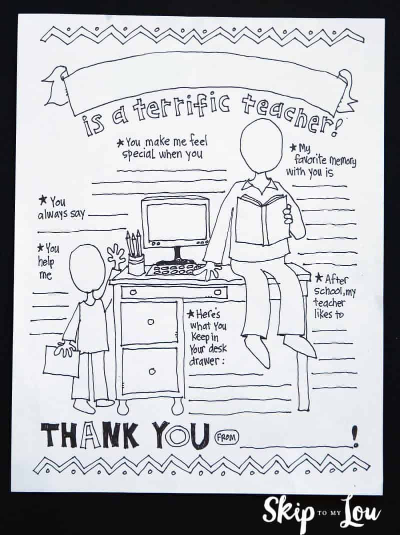 Coloring Pages For Your Teacher : My teacher coloring page appreciation gift